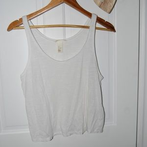 H&M Basics White Cropped Tank Top